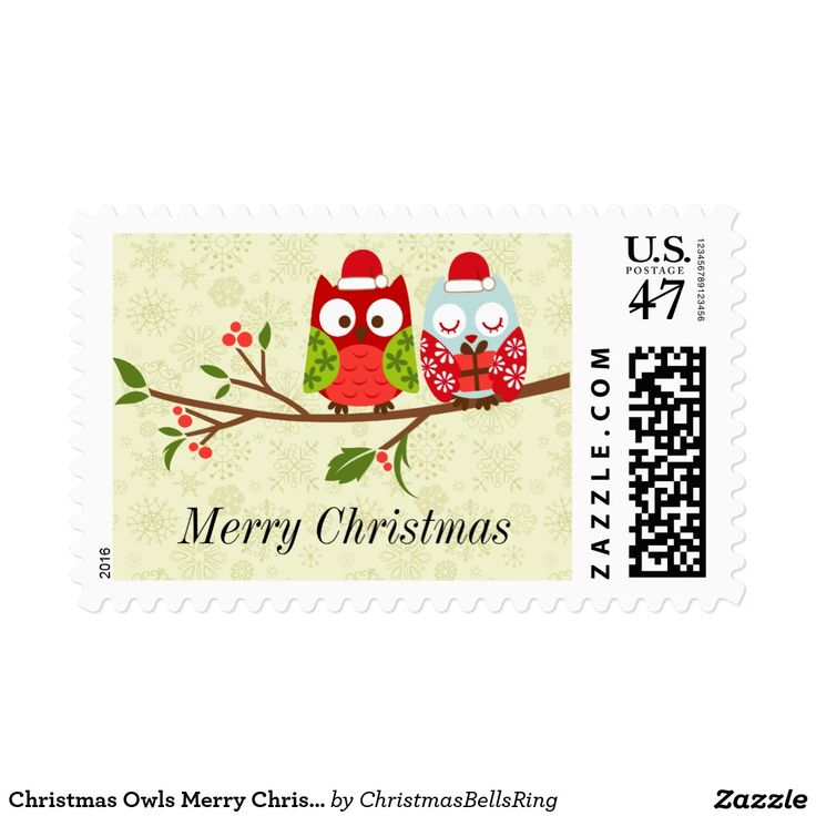 Christmas Owls Merry Christmas Postage