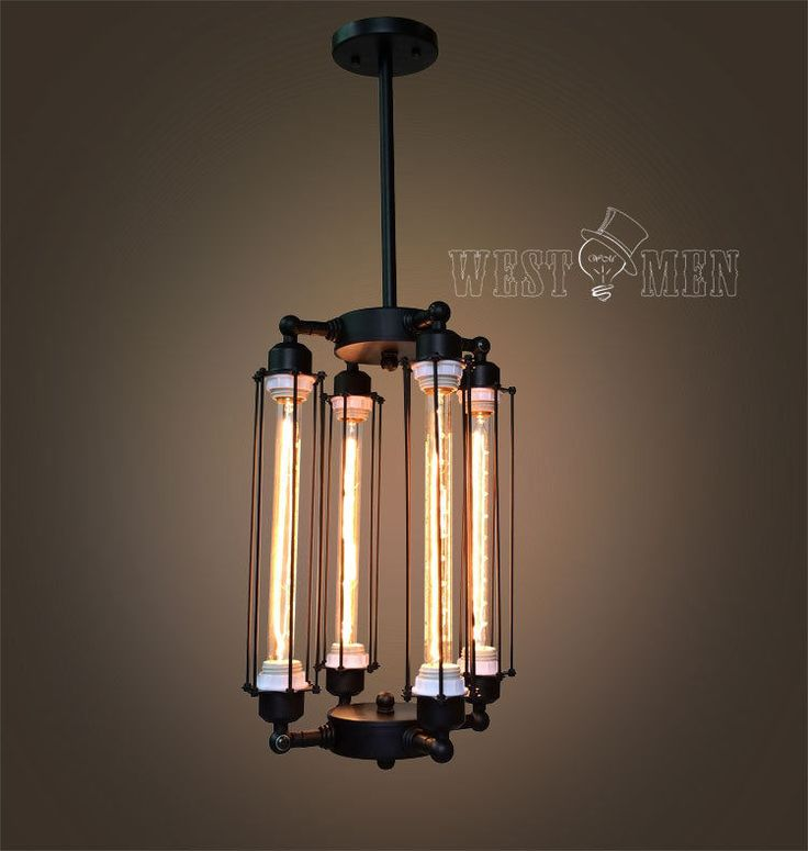 Cube Cage Chandelier Steampunk Ceiling Lamp Industrial Contemporary Edison Rusti