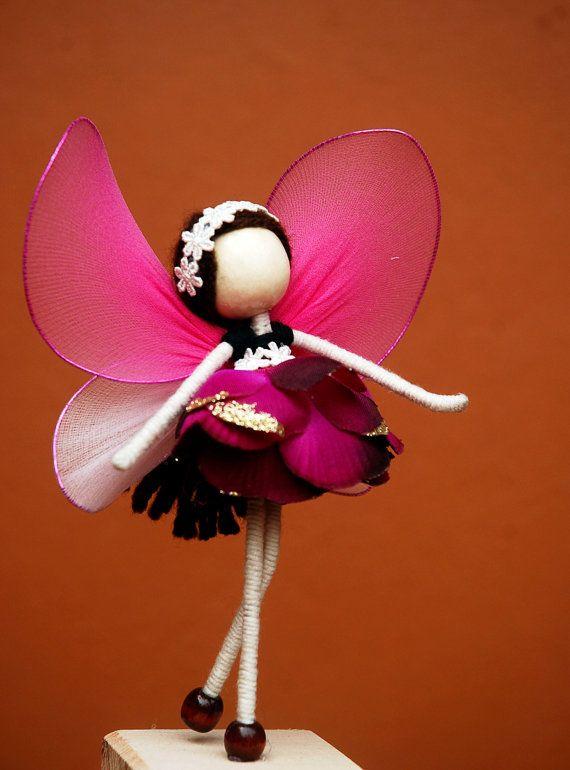 Purple Flower Petal Doll, Fairy Miniature, No face doll, Violet Princess Doll , Angel Ornament by OrientalColour, $14.50
