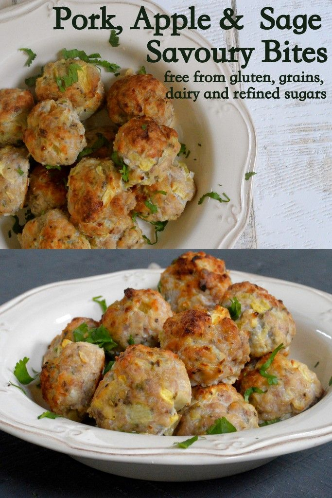 Delicious pork, apple and sage savoury bites. Simple ingredients, gluten free, dairy free and grain free. Perfect christmas party finger food, or as a side dish.