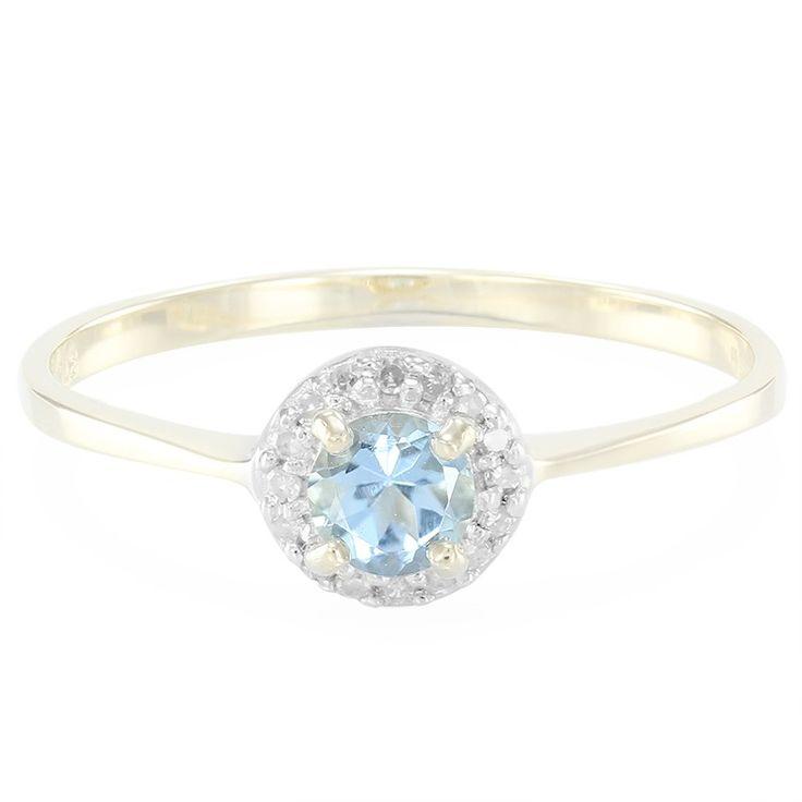 Bague de fiançailles en or sertie d'une Aigue-Marine de Santa Teresa et de Diamants - 2181MZ - Bijoux de mariage bleu ciel - Juwelo Bijouterie