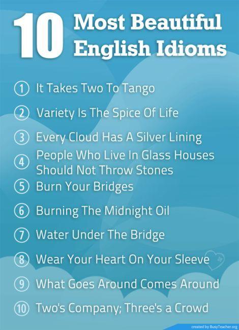 10 most beautiful English idioms                                                                                                                                                      More