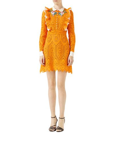 TQRET Gucci San Gallo Lace Dress Dress, Orange
