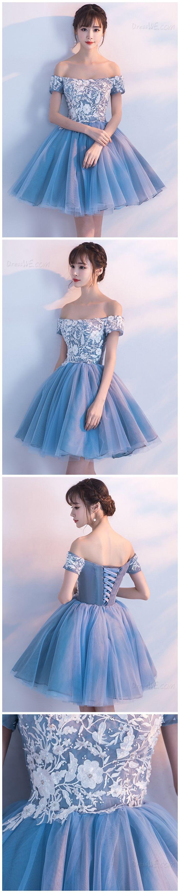 A-line Princess Off-the-shoulder Appliqued Homecoming Dresses APD2658a appliqued homecoming dress, sleeveless homecoming dress, graduation dress.