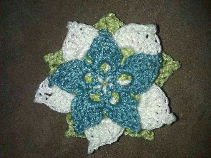 Three level crochet flower