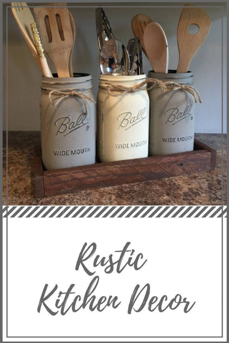 Looking for a unique, yet popular rustic kitchen decor? This  rustic  mason jar is perfect to give your kitchen decor appearance in style.  #farmhousedecor  #ad #kitchendecor #rustickitchendecor #rusticmasonjar  #ad