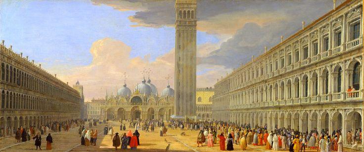 Luca Carlevarijs - The Metropolitan Museum of Art 1975.1.89. Piazza San Marco, Venice (c. 1709)  #18th #Classic #Luca #Carlevarijs #Painting