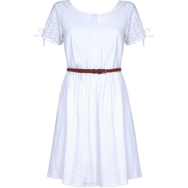 Yumi Broderie Anglaise Day Dress ($75) ❤ liked on Polyvore featuring dresses, cream, women, cream summer dress, lightweight summer dresses, summer skater dress, skater dress and above the knee dress