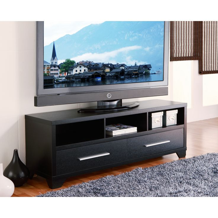 The modern TV console, perfect for any flat screens up to 60-inches. This is designed with beautiful multi-storage features coated in a warm cappuccino finish, and substantial panels for great stability for years coming.