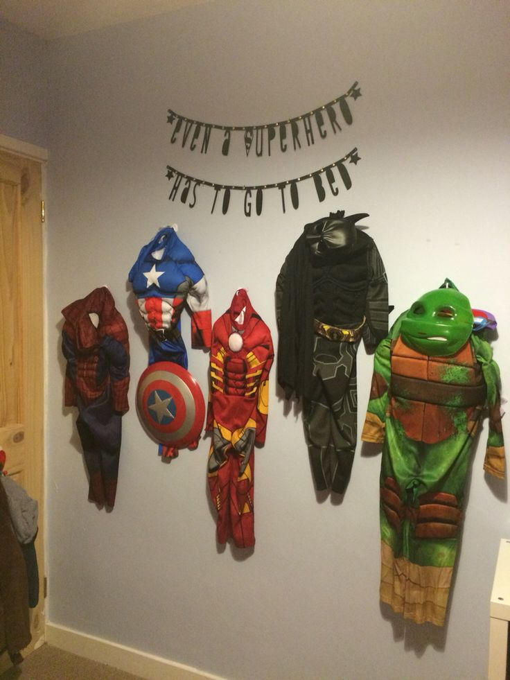 Avengers Bedroom feature wall for my son! Even a Superhero has to go to bed!