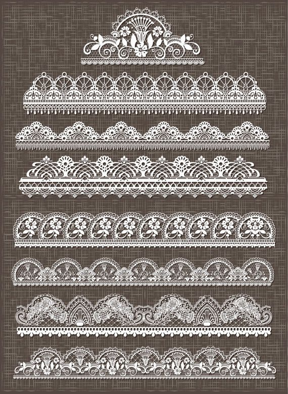Lace border clipart, lace borders clipart pack digital lace border for scrapbooking, wedding invites - vector EPS PNG and Photoshop Brushes