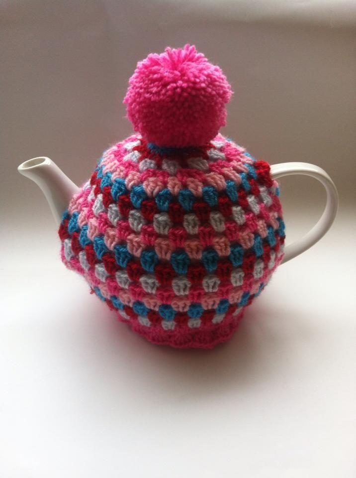 Pompom Tea Cosy, Crochet fab pretty pinks and purple, multi colours @thecraftyshamrock
