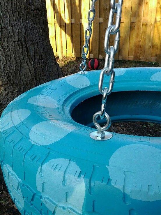 polka dot tire swing 26 Playful Tire Swings