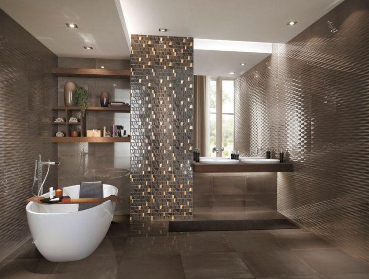 carrelage et mosaïque Frame en marron dans la salle de bains de luxe