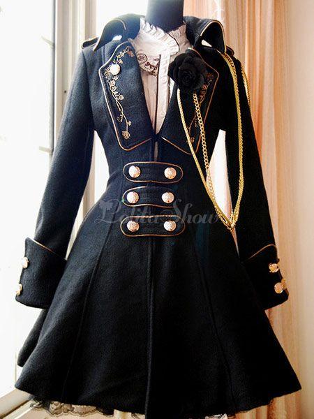 ロリータコート,ブラック クラシック&トラディション ロリータファッション ポリエステル ウール  - Lolitashow.com