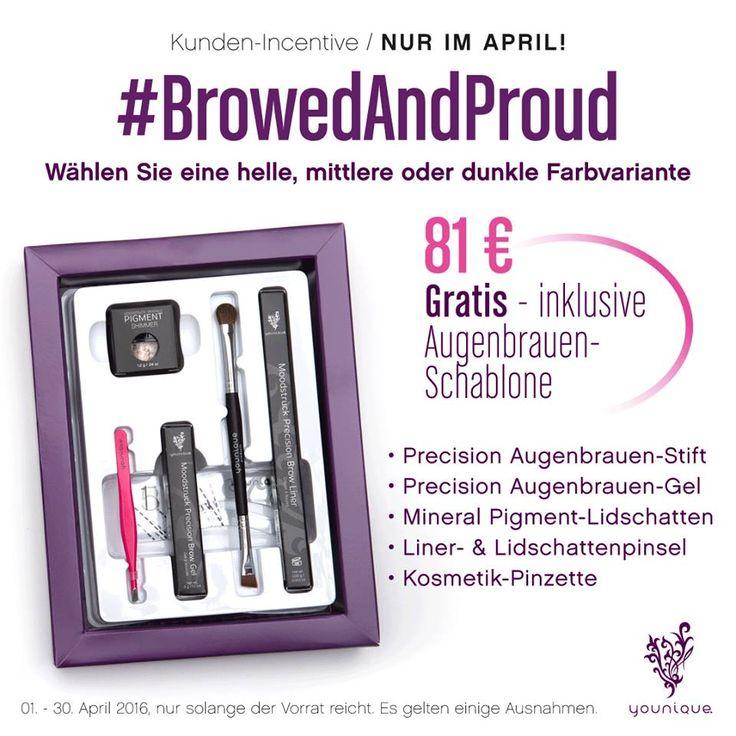 """April 2016 Kudos - """"Browed and Proud"""" Augenbrauen-Set zum Vorzugspreis von nur 81 Euro! Inklusive gratis Augenbrauen-Schablonen! Erhältlich in 3 verschiedenen Farbtönen!"""