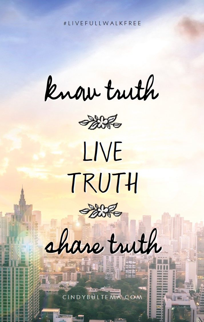 Know truth. Live truth. Share truth. Download this mobile lock screen and be reminded of 1 Corinthians and the heart behind Cindy Bultema's new Bible study, Live Full Walk Free.