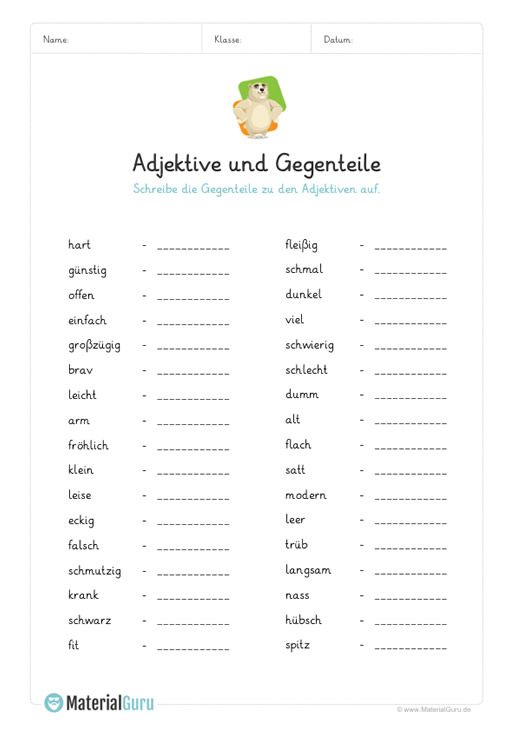ein kostenloses arbeitsblatt zum thema adjektive auf dem die sch ler 30 gegenteile von. Black Bedroom Furniture Sets. Home Design Ideas