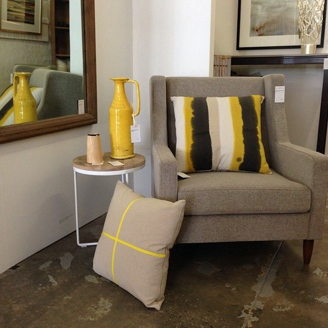 Soft greys and punchy yellows.