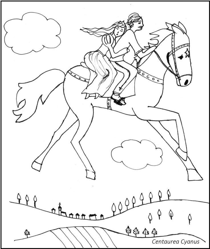 free coloring page by Centaurea Cyanus - hungarian fairytale - Az égig érő fa - princess