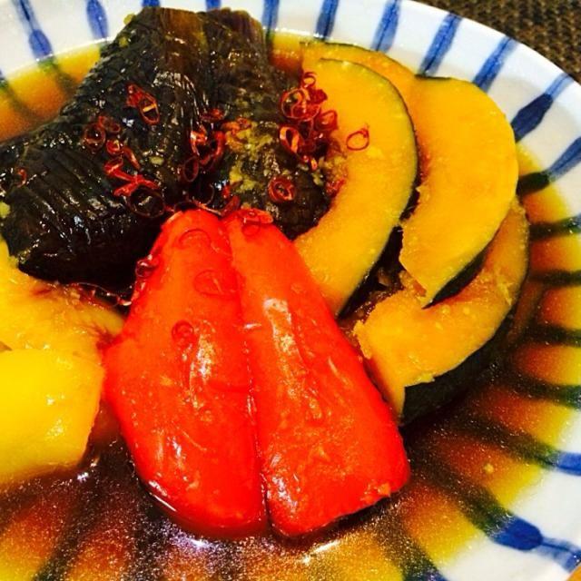 冷めても美味しい  茄子パプリカ、 かぼちゃで作りました! - 18件のもぐもぐ - 夏野菜の煮浸し by naru