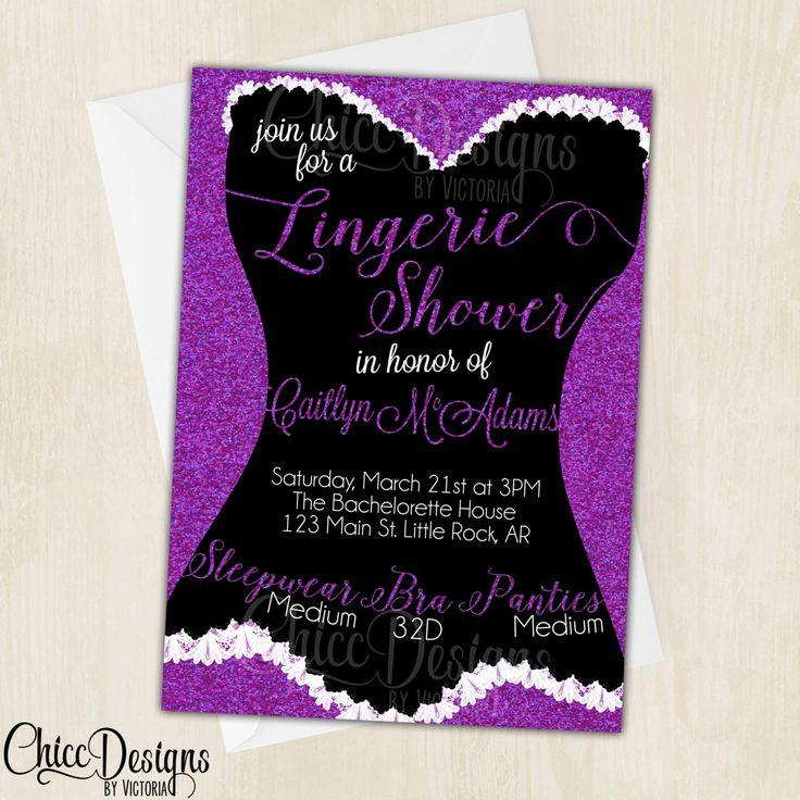 Lingerie Shower Invitation Glitter Color