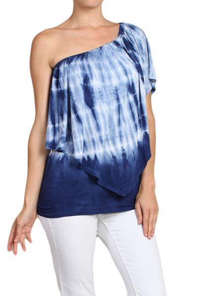 Womens Blue & White Tie Dye Off One Shoulder Ruffle Tiered Boho Shirt Tube Top