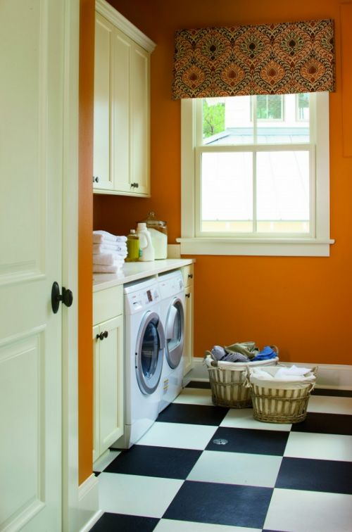 black-white-tile-laundry-room.  This is actually very close to the size of my actual laundry room. Love the floors.