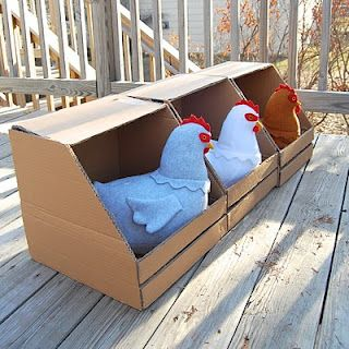 Farm Theme - houses for the hens from cardboard