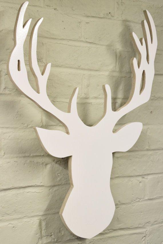 Floating Stag Head Wall Hanging, in White