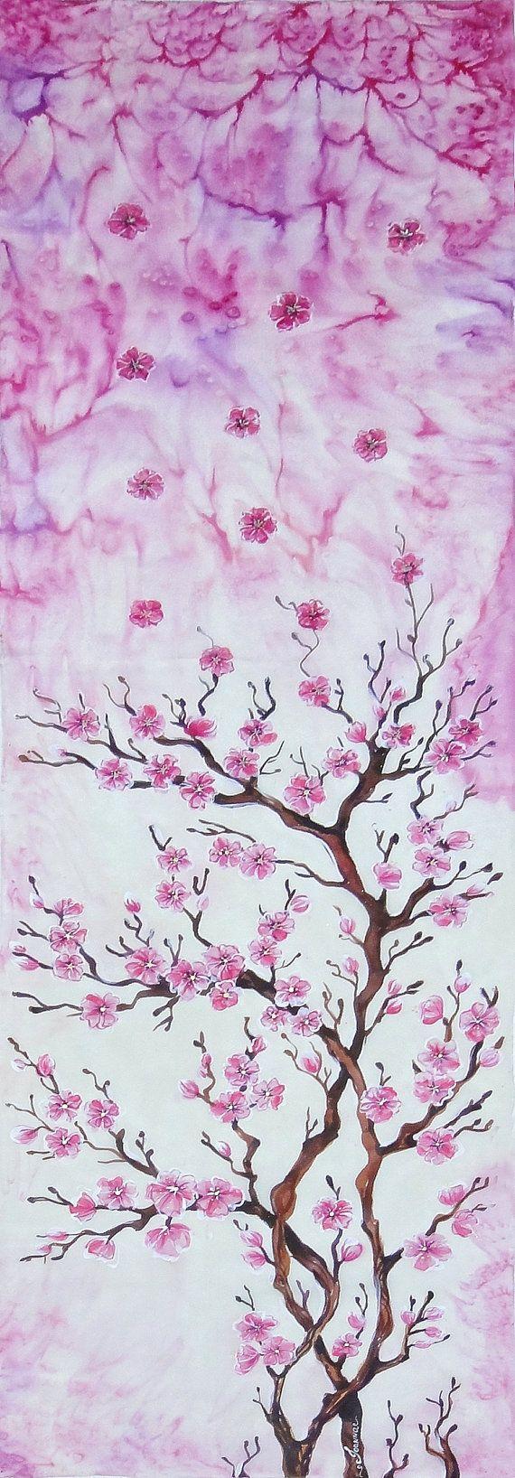 Hand painted silk scarf Sakura flower by JoannaArtDesign on Etsy