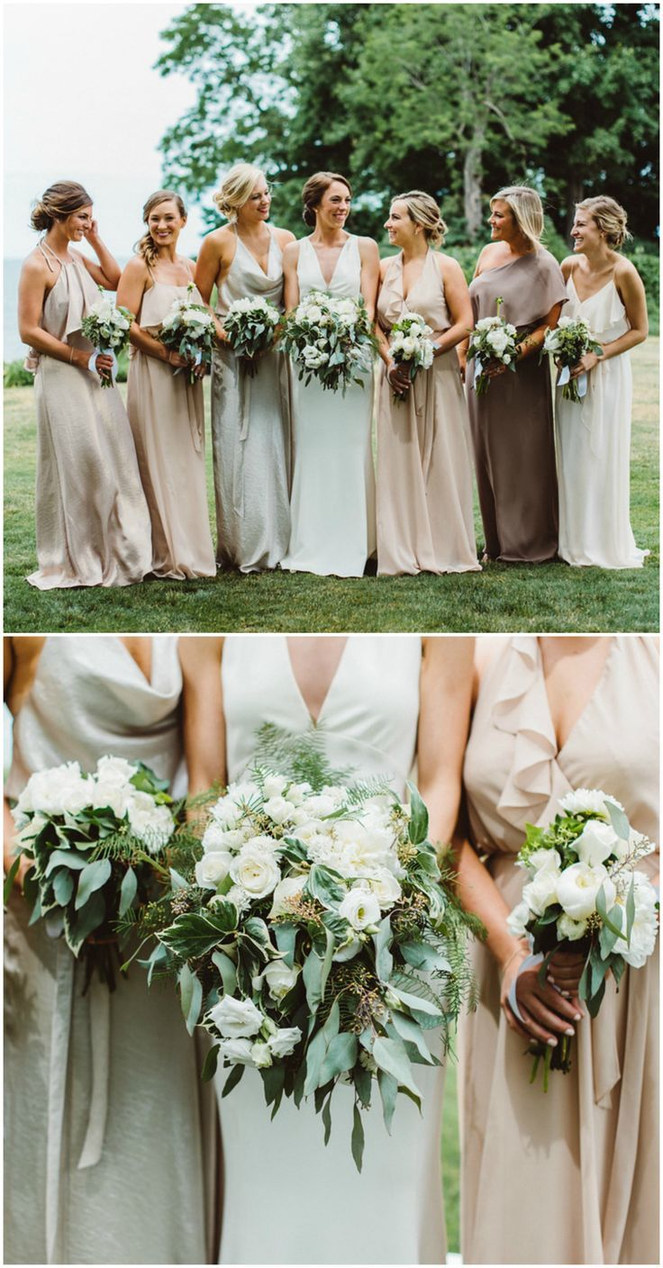 Bridesmaid fashion, mismatched silk gowns, neutral palette, blush colored bridesmaid dresses, white floral wedding bouquets // Aster + Olive Photography