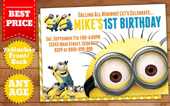 This Instant Downloadable is for a Minions Birthday Invitation Template in Photoshop (PSD).  Our templates are designed to to be easy and simple