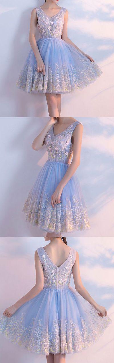 Little Cute | Cute light blue v neck tulle short prom dress, homecoming dresses,MB 476