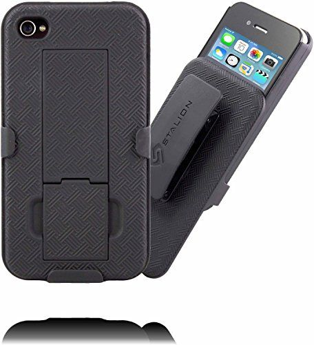 iPhone 4 4S Holster: Stalion® Secure Shell Case & Belt Clilp Combo with Kickstand (Jet Black) 180° Degree Rotating Locking Swivel + Shockproof Protection Stalion http://www.amazon.com/dp/B00KDNZ6AI/ref=cm_sw_r_pi_dp_sZA9wb1BFJZCX