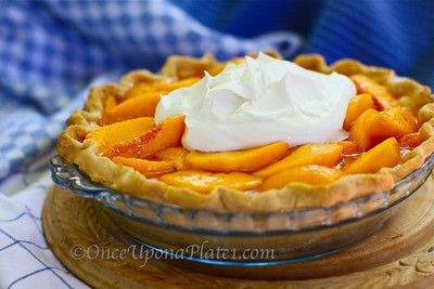 Fresh Peach Pie (No Bake ~ except the pastry crust)  As shared from the kitchen of Once Upon a Plate by Mari  www.onceuponaplate1.com   N...