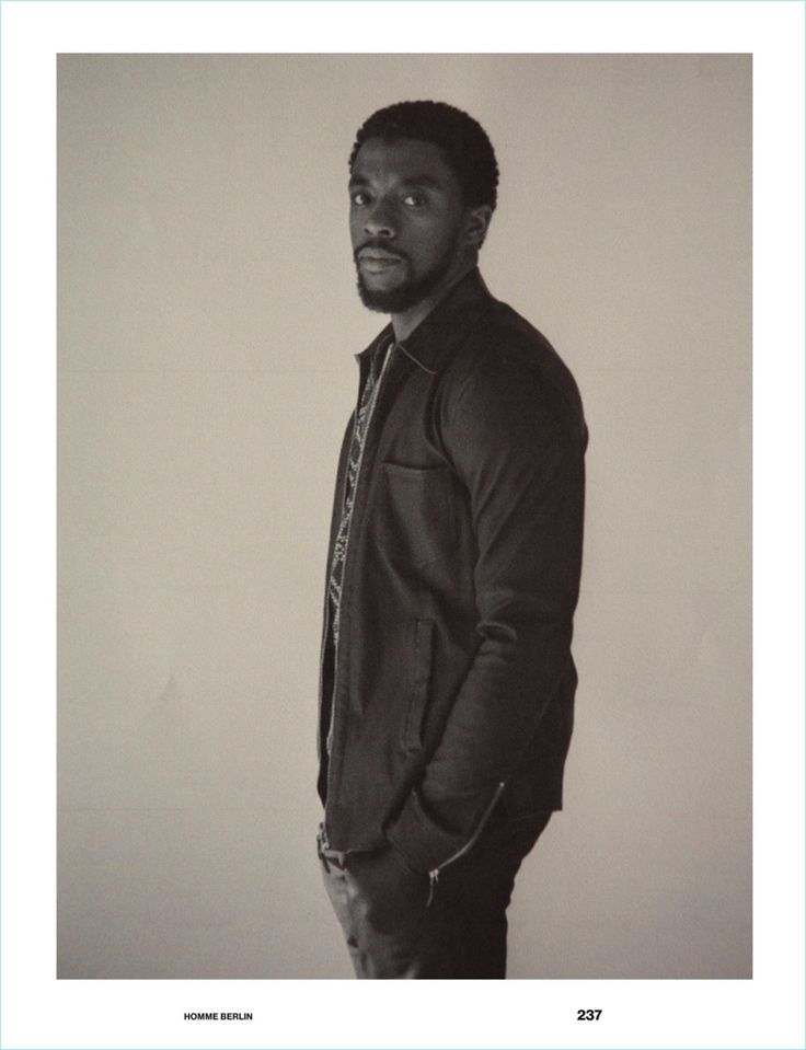 Sporting a Giorgio Armani look, Chadwick Boseman appears in a Numéro Homme Berlin shoot.