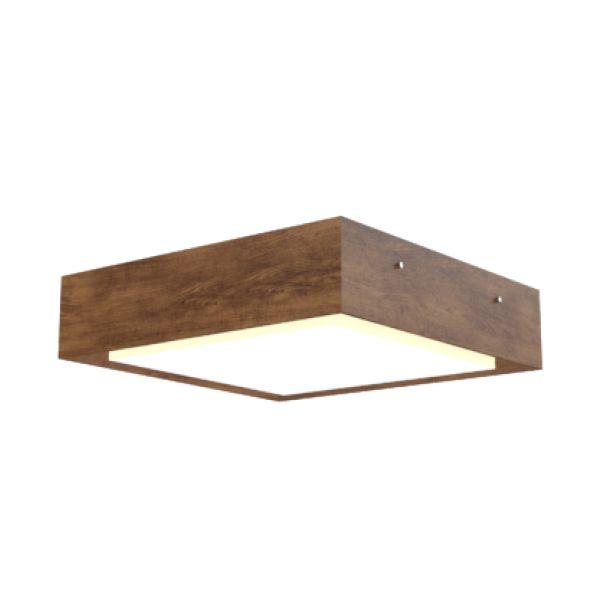 Plafon de madeira,  Medidas: 40x12x40cm,  Materiais: acrilico e madeira,  Cor da madeira: Imbuia,  Quantidade de lâmpadas: 3 (não inclusas)