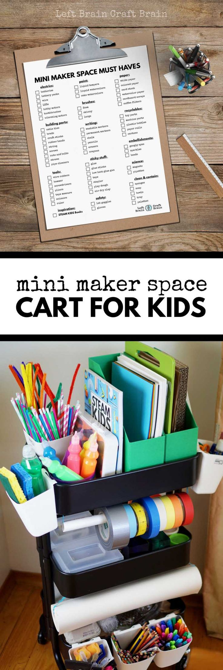 Use this helpful checklist to create a Mini Maker Space Cart for Kids filled with STEM & STEAM projects like circuits, art, and tinkering. #ad #ScrubMyWay #TeamSponge
