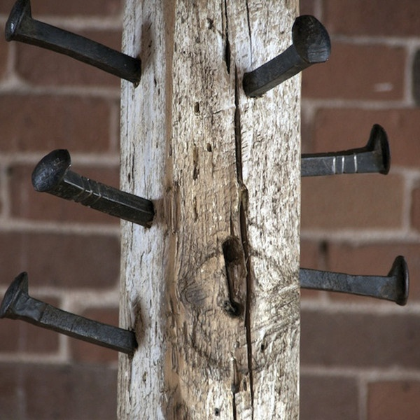 Coat rack--Love this to pieces! the rail road ties are perfect!