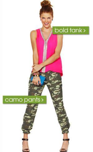 Parker bold tank + Monrow camo pants. Shop piperlime.com
