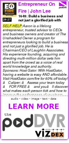 #SELF-HELP #PODCAST  Entrepreneur On Fire | John Lee Dumas chats with Tim Ferriss, Gary Vaynerchuk, Tony Robbins and othe    1649: Build a business and not just a glorified job with Aaron Young    READ:  https://podDVR.COM/?c=37c9b3e4-2cf6-ab41-c0f5-297c1acc340d