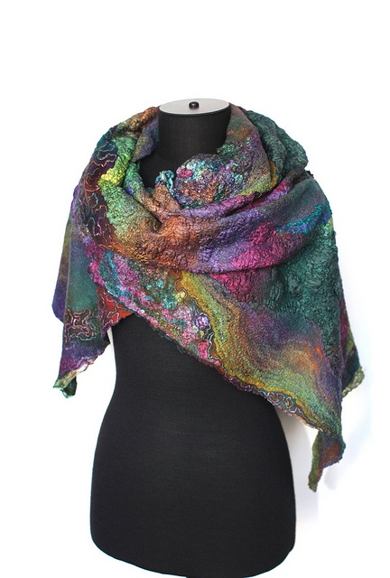 Everything at this site will take your breath away with it's beauty!          Nuno Felted Scarf Wrap by FeltedPleasure, via Flickr