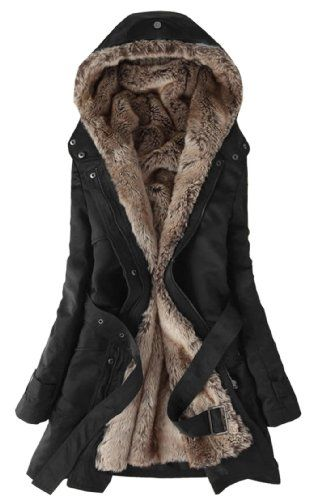 SGG Hooded Faux Fur Lining Long Jacket - I want this for Christmas! Someone tell Andy. Soooo cute.
