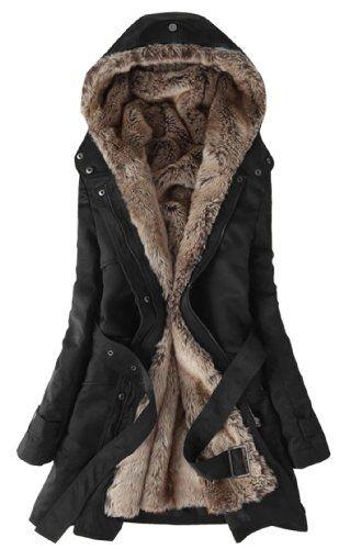 SGG Warm Hooded Faux Fur Ling Winter Coat Long Jacket Parka Women L Black