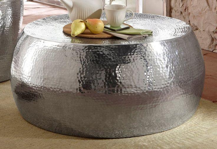 Home affaire, Couchtisch ( Beistelltisch) aus Aluminium in Hammerschlag-Optik für 249,99€. Gestell aus Metall bei OTTO