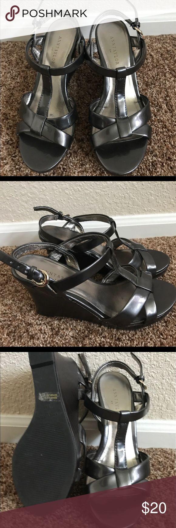 Ann Taylor grey/pewter sandals size 6 Comfy dark grey/silver Ann Taylor sandals, great condition.  Size 6 Ann Taylor Shoes Sandals