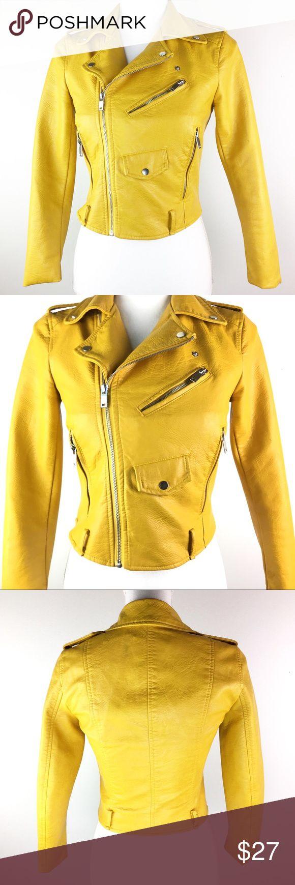 Zara Basic Mustard Yellow Faux Leather Moto Jacket XS This