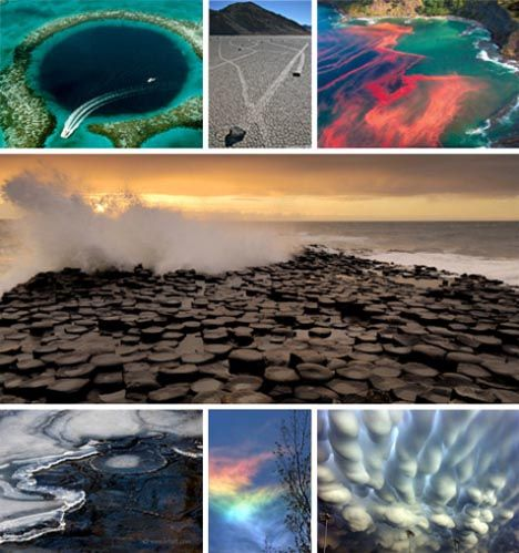 7 Phenomenal Wonders of the Natural World: sailing salt, columnar basalt, blue holes, red tides, ice circles, mammatus clouds, fire rainbow