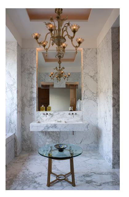 all marble : loving the hidden lights around the mirror